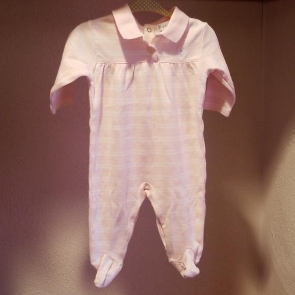 Ralph Lauren Other - RL Soft Powder Pink and White Striped Footie